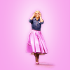challyzatb: Rose of Doctor Who in the pink dress and denim jacket, hands to her pink sunglasses, full body on a pink background. (rosepink50s)