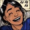 chomiji: Sangeeta laughing at her brother, with the caption Ah ha ha (Sangeeta - Ah ha ha)