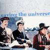 azarsuerte: Fourth Doctor (Tom Baker), Harry Sullivan (Ian Marter) & the Brigadier (Nick Courtenay): text is 'saving the universe' (Doctor Who - Four & Harry & Brig)