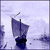 kabal42: A purple-tinted picture of a viking ship at sea (General - Viking boat)