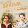 "vahinkoelain: A picture of Gwen and Morgana with text ""Stupid sexism, Gwen and Morgana do not approve"" (stupid sexism)"