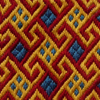 parlstickare: geometric embroidery in bright blue, red and yellow (Brickstitch)