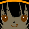 kaon4shi: A girl with dark hair and an orange headband wearing a mischievous expression. (Default)