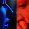 goodbyebird: Fringe: Two versions of Olivia, one blue and one red. (Fringe and then there were two)