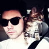 thewrongkindofpc: ryan ross in dark glasses, in a car with a cat on his shoulder (Ryan ross)