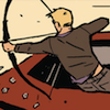 snickfic: [comic] Clint Barton shooting arrows from window of car (Clint action)