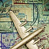 phinnia: plane over stamps background (stampplane)