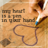 phinnia: writing a rumi quote on a desk (rumi/heart is a pen in your hand)