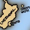 "jjhunter: A cartoon sketch of a small island labeled ""DREAM WIDTH"" off the coast of larger island labeled LIVEJOURNAL"". (xkcd dreamwidth island)"