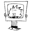 calvinahobbes: Calvin holding a cardboard tv-shape up in front of himself (dinosaurs)