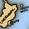 "firecat: A cartoon sketch of a small island labeled ""DREAM WIDTH"" off the coast of a larger island labeled ""LIVEJOURNAL"". (Dreamwidth island)"