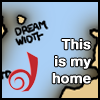 dragonfly: detail of a map showing the island of Live Journal and the smaller island of Dreamwidth.  Caption says,This is my home. (dw island)