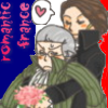atrocementheatral: Anime-like fanart of an enamoured Saint-Just holding an annoyed Robespierre in his arms and offering him flowers. (SJ/MR - Romantic France)