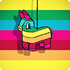 ninetydegrees: Drawing: rainbow donkey piñata on rainbow background (piñata)