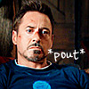 next_to_normal: Tony Stark pouting; text: *pout* (pout)