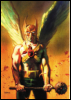 halialkers: Hawkman with his mace and wings outstretched (Ren Molotov)