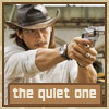"jain: Cougar Alvarez aiming a handgun. Text: ""The quiet one"" (losers cougar the quiet one)"