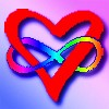 cereus: A heart entangled with a rainbow colored infinity sign (rainbow, poly)