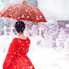 tei: Woman in red dress in the snow. (11/Amy)