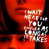 "jenwryn: Amy, in red, with the words ""I'll wait here for you forever; as long as it takes"" (doctor who • amy; as long as it takes)"