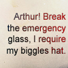 "jenwryn: ""Arthur! Break the emergency glass, I require my Biggles hat."" (cabin pressure • text; byo biggles hat)"