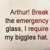"jenwryn: ""Arthur! Break the emergency glass, I require my Biggles hat."" (cabin pressure • text; byo biggles hat)"