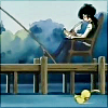 pas_de_duck: Fakir writes on a dock while duck!Ahiru swims. (Fakir on the dock)