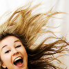 feuille: girl grinning with wild hair (crazy happy girl)