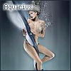 miks_graphics: A woman in water wrapped in silk. Text reads: Aquarius. (Aquarius)