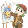 lileyo: A drawing of Yotsuba, from the comic book Yotsuba&, drawing a picture and blowing bubbles from a bubble pipe. (Yotsuba)