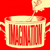 inauthenticcooking: graphic image done in smoky red and white of a hand stirring a stock pot labeled 'imagination' with a long wooden spoon (stirring the pot)