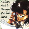 chomiji: Tenpou from Saiyuki Gaiden, holding a sheaf of papers. Caption: A clean desk is the sign of a sick mind (tenpou - desk)