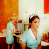 entwashian: liz parker and maria deluca in their crashdown uniforms (liz and maria diner)