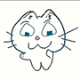 casualotaku: A small, white, bipedal cat with triangular eyes reminiscent of an onigiri rice ball. (Default)