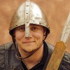 red_trillium: photo of me in a metal medieval helmet (me)