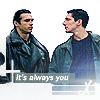 calime: Duncan and Methos facing each other, text: It's always you (D&M always you)