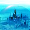 calime: Atlantis with shield raised, bluetoned (Atlantis)