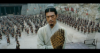 madimpossibledreamer: Zhuge Liang standing with his fan, looking peaceful.  Army in background. (peace)