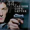 calime: Methos aiming a gun, text: 44. caliber love letter (44 caliber love letter)