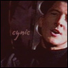 calime: Methos face, text: cynic (Methos cynic)