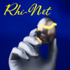 "vrisanfra: Blue background with a blue-silver gloved hand holding a dark  metal egg, cracked with gold. Says ""Rhi-Net"" in gold. (Rhi-Net)"