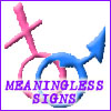 calime: male and female gender symbols, text: meaningless signs (meaningless signs)