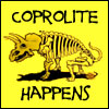 calime: drawing of a stegosaur skeleton defecating, text: coprolite happens (coprolite happens)
