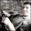 calime: Methos lounging back with beer bottle in hands, text: methos + beer = OTP (beer Methos drug)