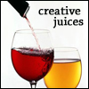 calime: two wine glasses with red and yellow contents, red being filled from a bottle, text: creative juices (wrisomifu creative juices)