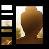 ananda_om: An image from behind of a statue at sunset. There's a black frame with cut out pieces over it. (default|zen)