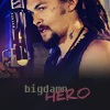 calime: Ronon head and shoulders in profile, text: big damn hhero (Ronon big damn hero)
