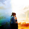 dharmavati: Avatar Korra standing in front of a steampunk city ({a:tlok} so you think I'm alone?)