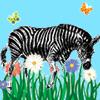 zeborah: Zebra in grass smelling a daisy (gardening)