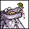 jjhunter: Watercolor purple ruffled monster with mouthful of raw vegetables looks exceedingly self-pleased (veggie monster)
